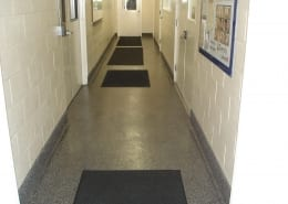 Epoxy flake system for break room and restroom floor installation