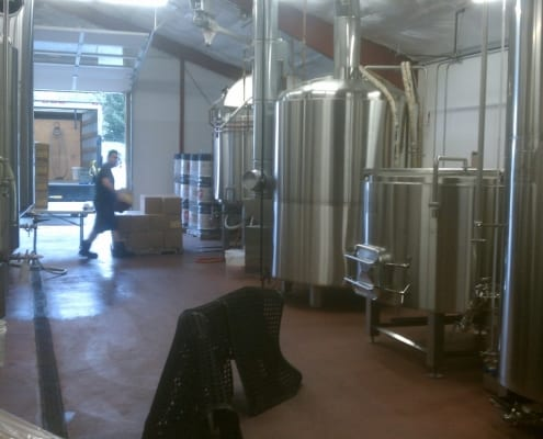Urethane floor installation at Gigantic Brewery in Portland