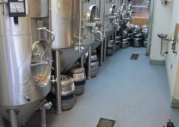 Urethane flooring installation at Bend Brewing