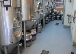 Urethane flooring installation at Bend Brewing