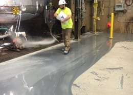 Urethane base with urethane top coat chemical plant flooring install in Oregon