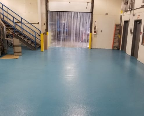 Urethane floor with epoxy top coat and Fiberglass wall system with Gelcoat top installation in Bellingham, Washington