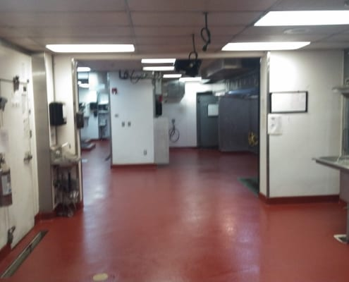New epoxy floors over commercial tile kitchen at Pelican Brewing in Oregon