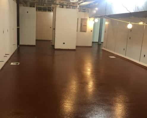 Urethane and epoxy flooring installation in brewery kitchen in Alaska