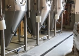 Urethane flooring with epoxy top coat installation at Turnagain Brewing in Alaska