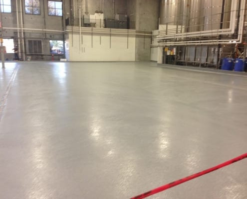 Cascade Floors epoxy flooring installation at Stone Brewing in California